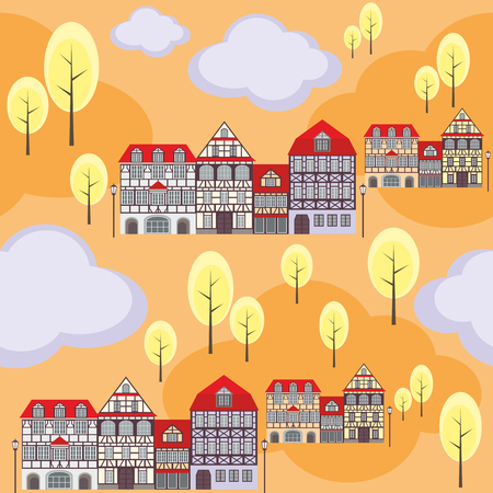 rapport: seamless pattern with the image of old town houses, clouds and trees. autumn cityscape.