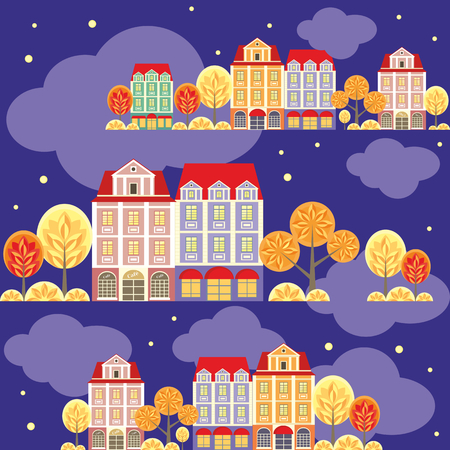 rapport: seamless pattern with the image of old town houses, clouds and trees. autumn night cityscape