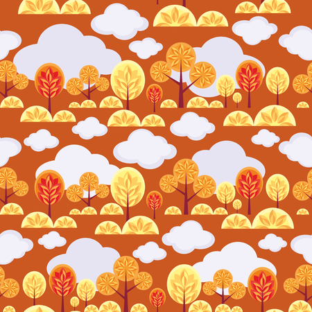seamless pattern with the image of autumn forest Illustration