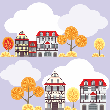 fachwerk: seamless pattern with the image of old town housesin half-timbered, clouds and trees. autumn cityscape