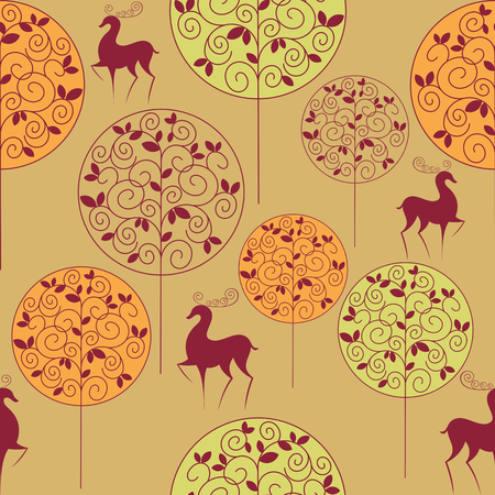 rapport: seamless pattern with the image of autumn forest and deer in vintage style