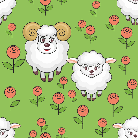 rapport: Colorful childrens seamless pattern in cartoon style with the image of sheep on meadow Illustration