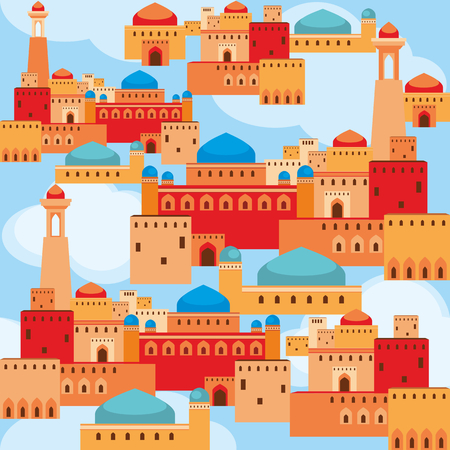 Islamic seamless pattern with the image of the ancient Middle Eastern city. A mirage in the desert.