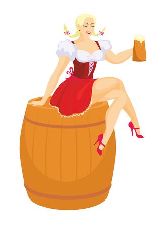 sentarse: niña en un traje tradicional bávaro sostiene una jarra de cerveza