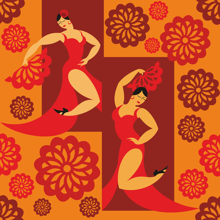rapport: seamless pattern with the image of the dancers of a flamenco in a red dress