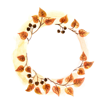 hand painted round autumn floral frame. Watercolor painting. Standard-Bild