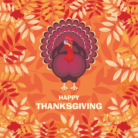 ashberry: thanksgiving greeting card with the image of a big beautiful Turkey on background of autumn ashberry leaves