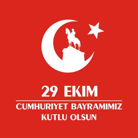 29 Ekim Cumhuriyet Bayrami. Wenskaart Dag van de Republiek in Turkije 29 oktober met het beeld van de hippische standbeeld van Mustafa Kemal Ataturk