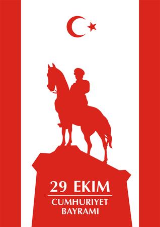 29 Ekim Cumhuriyet Bayrami. Wenskaart Dag van de Republiek in Turkije 29 oktober met het beeld van de hippische standbeeld van Mustafa Kemal Ataturk Vector Illustratie
