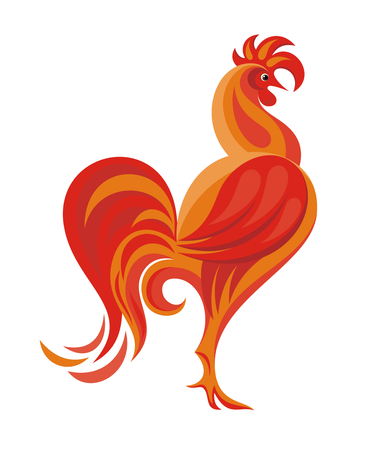 fiery: Fiery Rooster - a symbol of new 2017 on the Chinese horoscope Illustration