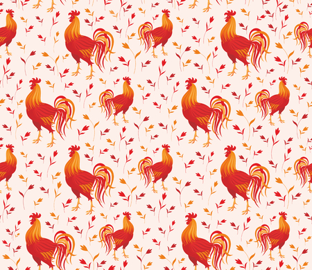 a horoscope new: Fiery rooster - a symbol of new 2017 on the Chinese horoscope. Seamless pattern.