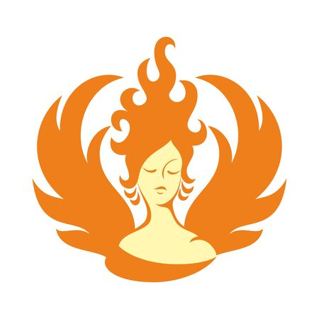 mythological character: the fire fairy. a stylized image on white background. Icon
