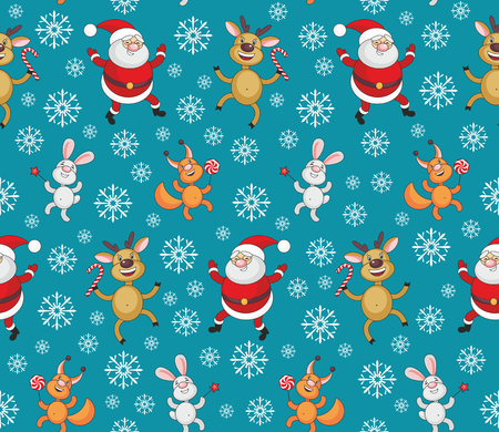 bunny xmas: Christmas seamless pattern with the image of funny animals and Santa Claus