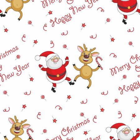 winter dance: Christmas seamless pattern with the image of funny animals and Santa Claus