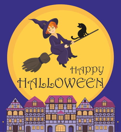 old houses: Halloween greeting card with the image of the little witch and old houses Illustration