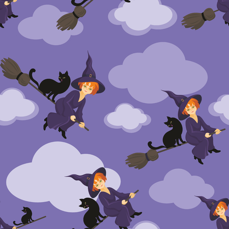 enchantress: Halloween seamless pattern with the image of the little witch Illustration
