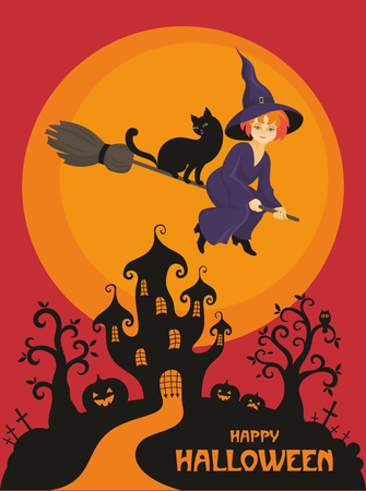 enchantress: Halloween greeting card with the image of the little witch and fairytale castle Illustration