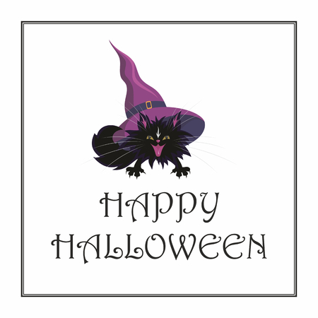 pointy hat: Halloween greeting card with the image of the little black cat Illustration