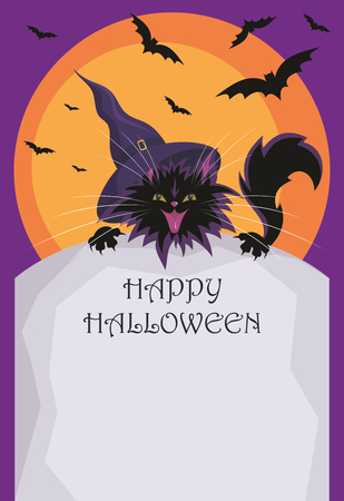 pointy hat: Halloween background with the image of the little black cat