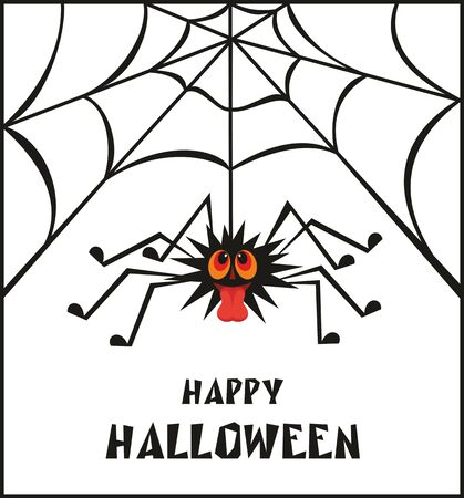 tease: Halloween greeting card with the image of the perky spider