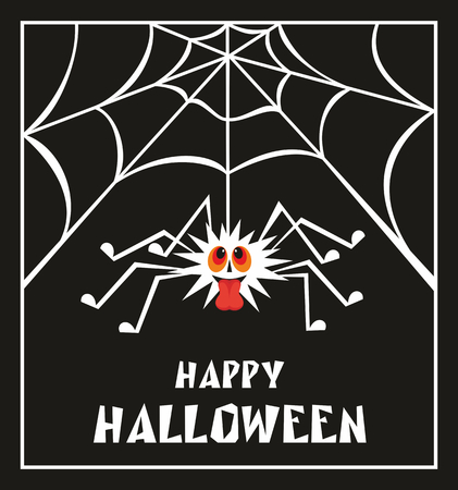 halloween spider: Halloween greeting card with the image of the perky spider