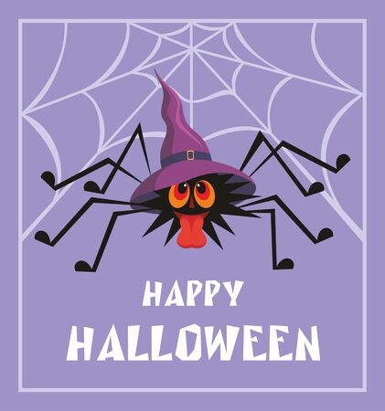 pointy hat: Halloween greeting card with the image of the perky spider