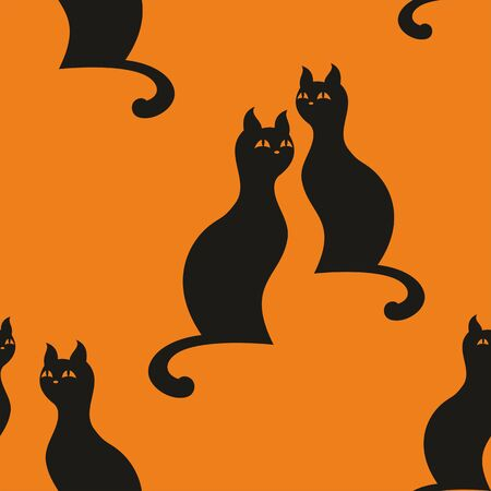 graceful: seamless pattern with the image of the silhouettes of  graceful cats