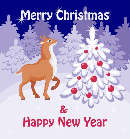 fawn: Merry Christmas greeting card with the image of a fairy-tale winter forest, Christmas tree and fawn