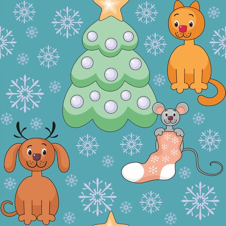 rapport: Christmas seamless pattern with the image of funny pets and Christmas tree