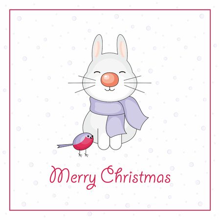 bunny xmas: Merry Christmas greeting card with the image of funny rabbit and snowflakes in cartoon style Illustration