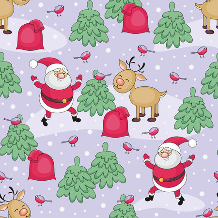 rapport: Christmas seamless pattern with Santa Clauss image, a deer and a bag with Christmas gifts