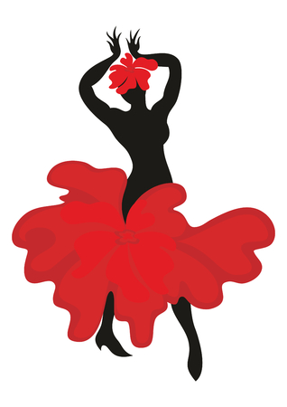 moorish clothing: Beautiful graceful woman dancing Spanish dance flamenco. Black silhouette, the dress is styled in the shape of a red flower. Set.