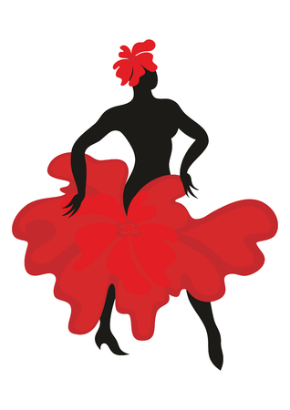 Mooie bevallige vrouw dansen Spaanse dans flamenco. Zwart silhouet, is de jurk vormgegeven in de vorm van een rode bloem. Set.