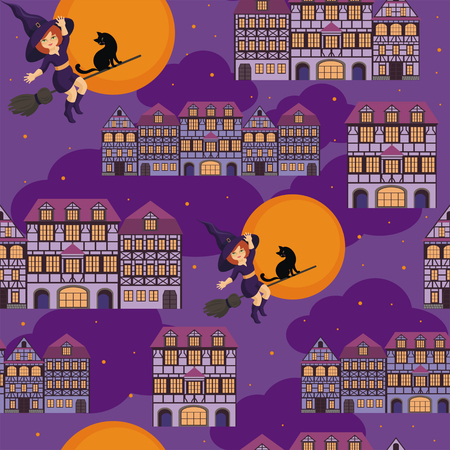 enchantress: Halloween seamless pattern with the image of the little witch and old houses