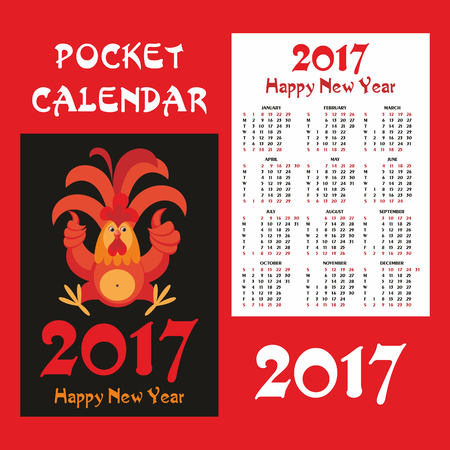 a horoscope new: Fiery rooster - a symbol of new 2017 on the Chinese horoscope. Pocket calendar.