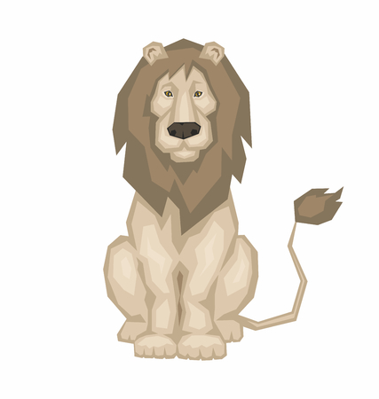 sits: the big beautiful lion sits. Wild African animal Illustration