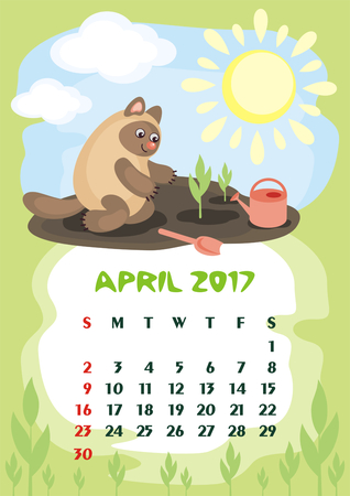 orientation: Wall calendar for April, 2017 with an amusing cat. Fun childrens illustration in cartoon style. Colorful background. Vertical orientation. Week starts Sunday. Vector.