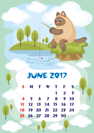 orientation: Wall calendar for June, 2017 with an amusing cat. Fun childrens illustration in cartoon style. Colorful background. Vertical orientation. Week starts Sunday. Vector.