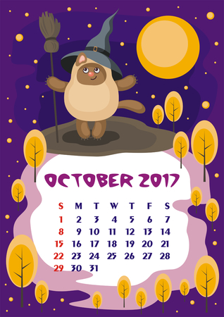 orientation: Wall calendar for October, 2017 with an amusing cat. Fun childrens illustration in cartoon style. Colorful background. Vertical orientation. Week starts Sunday. Vector.