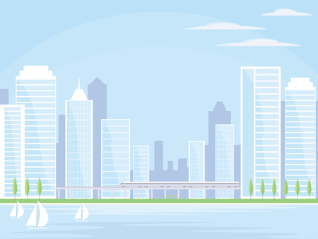 Abstract image of a modern seaside city. Cityscape with tall buildings, skyscrapers and high speed rail. Vector background for design presentations, brochures, web sites and banners.