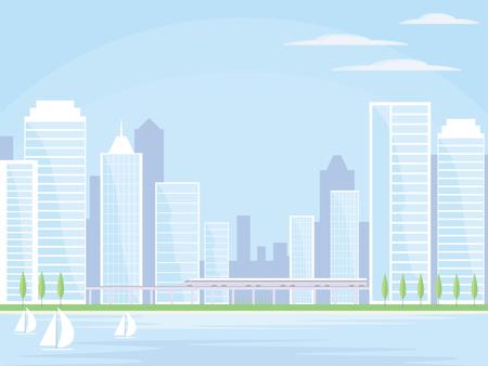 Immagine astratta di una moderna città balneare. Paesaggio urbano con edifici alti, grattacieli e ferrovia ad alta velocità. Vector sfondo per presentazioni di design, brochure, siti web e banner. Archivio Fotografico - 65988125