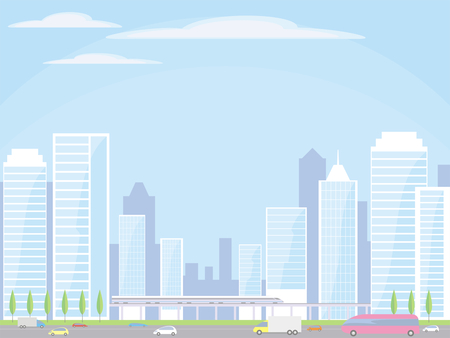 high speed rail: Abstract image of a modern city. Cityscape with tall buildings, skyscrapers and high speed rail. Vector background for design presentations, brochures, web sites and banners.