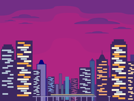 high speed rail: Abstract image of a modern night city. Cityscape with tall buildings, skyscrapers and high speed rail. Vector background for design presentations, brochures, web sites and banners. Illustration