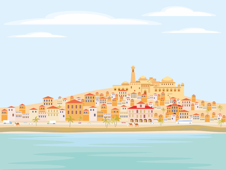 sea of houses: Abstract image of a Mediterranean coastal town. Vector background with the image of the sea coast, road, small houses and mosque. Illustration