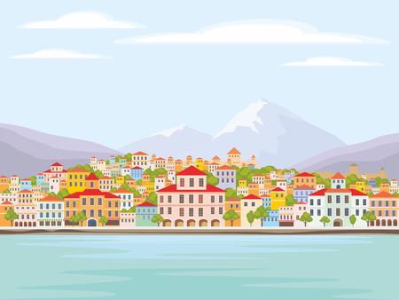 paisaje mediterraneo: Imagen abstracta de una ciudad costera. Vector de fondo con la imagen de la costa del mar y pequeñas casas. Vectores