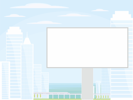 high speed train: The image of the Billboard on the background of a modern coastal city. Cityscape with tall buildings, skyscrapers and high speed rail.Vector background for design presentations, brochures, web sites and banners. Illustration