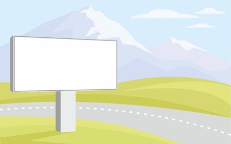 peaks: The image of the Billboard on the background of green hills and mountain peaks