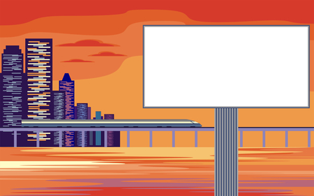 high speed rail: The image of the Billboard on the background of a modern coastal city. Cityscape with tall buildings, skyscrapers and high speed rail. Vector background for design presentations, brochures, web sites and banners.