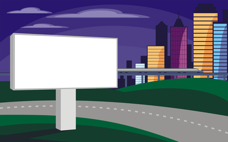 high speed rail: The image of the Billboard on the background of a modern city. Cityscape with tall buildings, skyscrapers and high speed rail. Vector background for design presentations, brochures, web sites and banners.