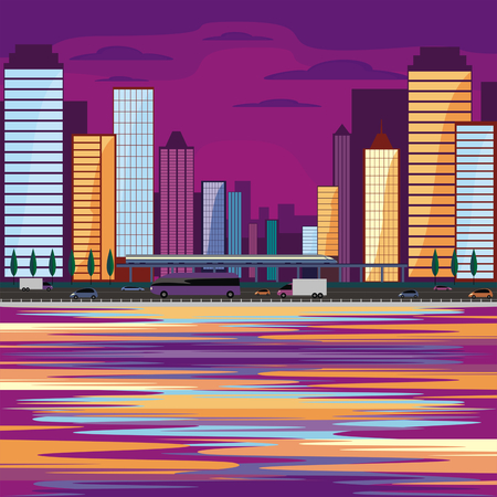 Abstract image of a modern coastal city. Cityscape with tall buildings, skyscrapers and high speed rail. Vector background for design presentations, brochures, web sites and banners. Illustration